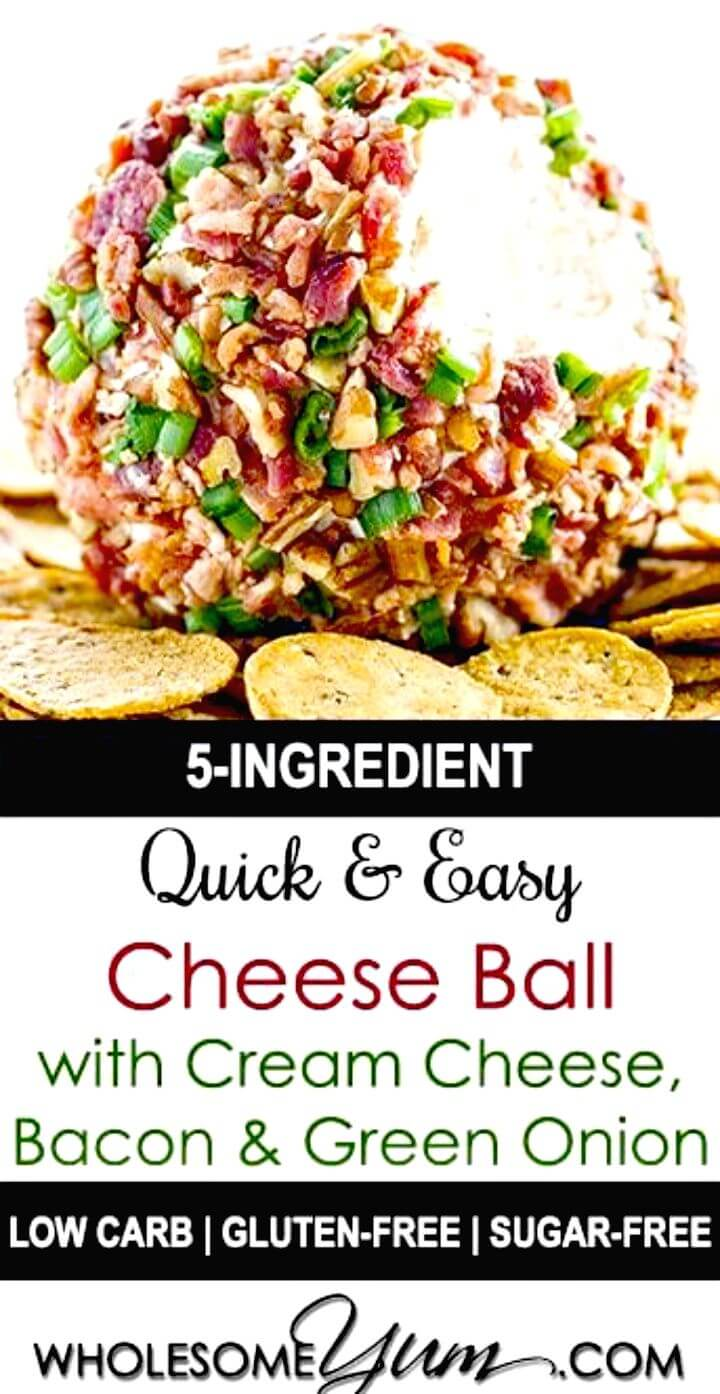 Make Cheese Ball with Cream Cheese, Bacon and Green Onion