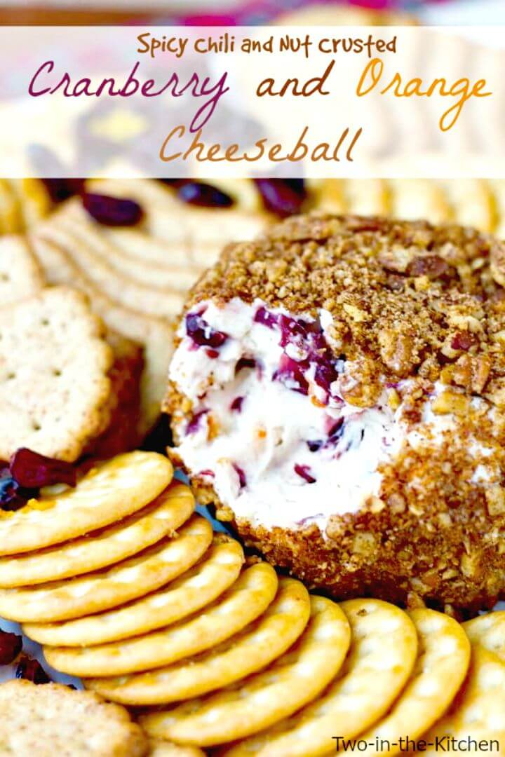 Spicy Chili Nut Crusted Cranberry and Orange Cheeseball