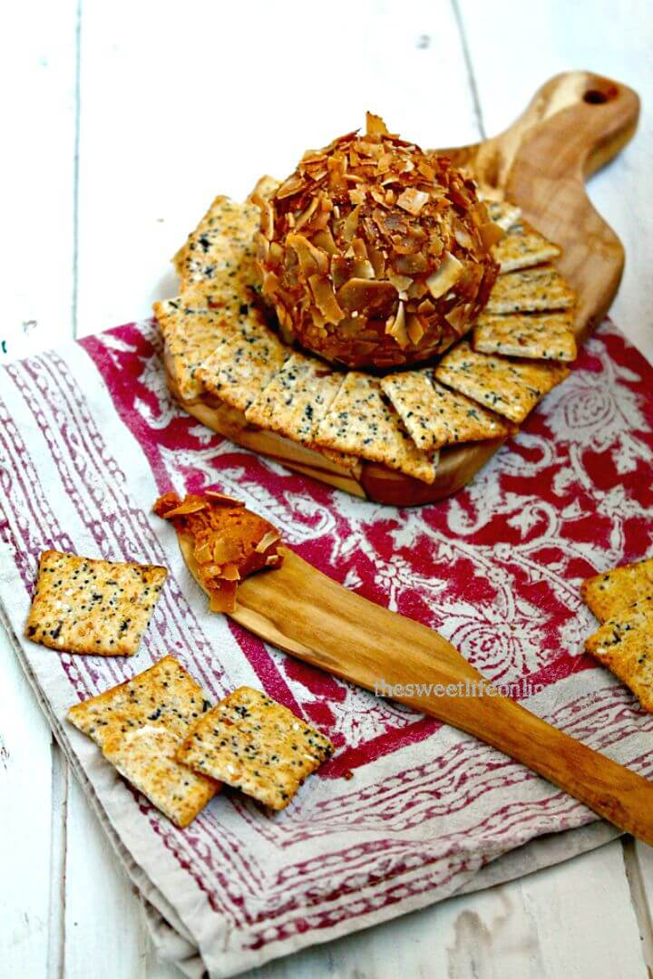 Sweet and Spicy Buffalo Vegan Cheddar Cheese Ball Recipe