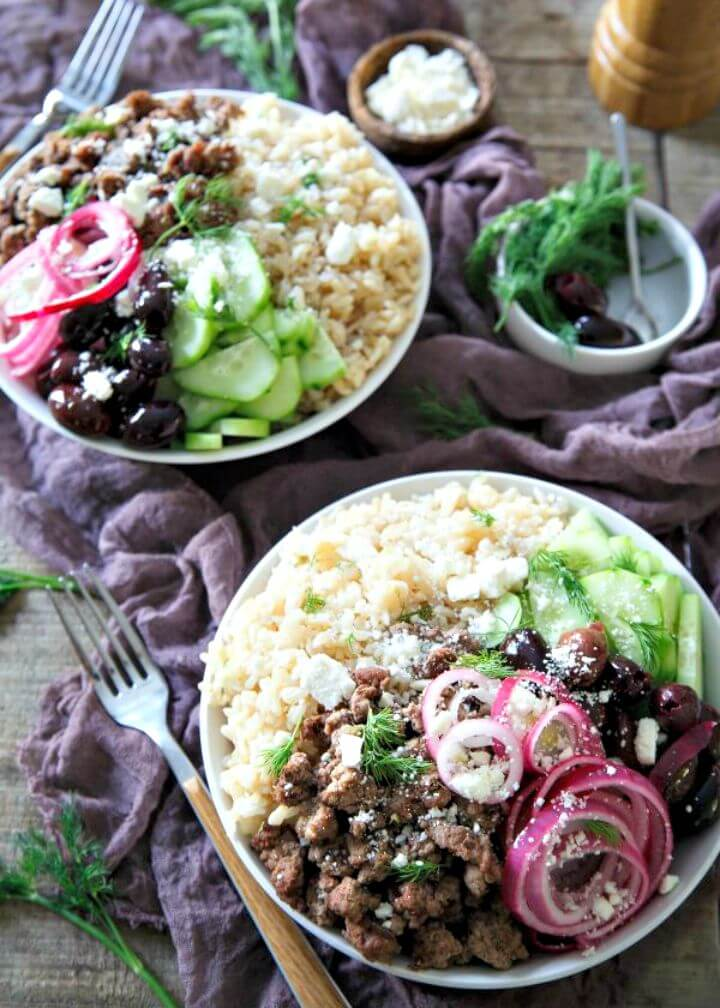 Greek Brown Rice Bowls Recipe