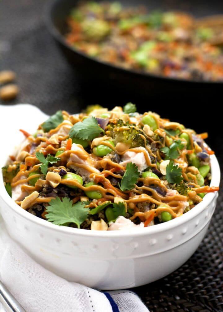 Best One Pot Thai Quinoa Bowl with Chicken