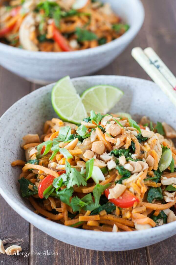 Delicious Thai Chicken & Sweet Potato Noodle Bowls