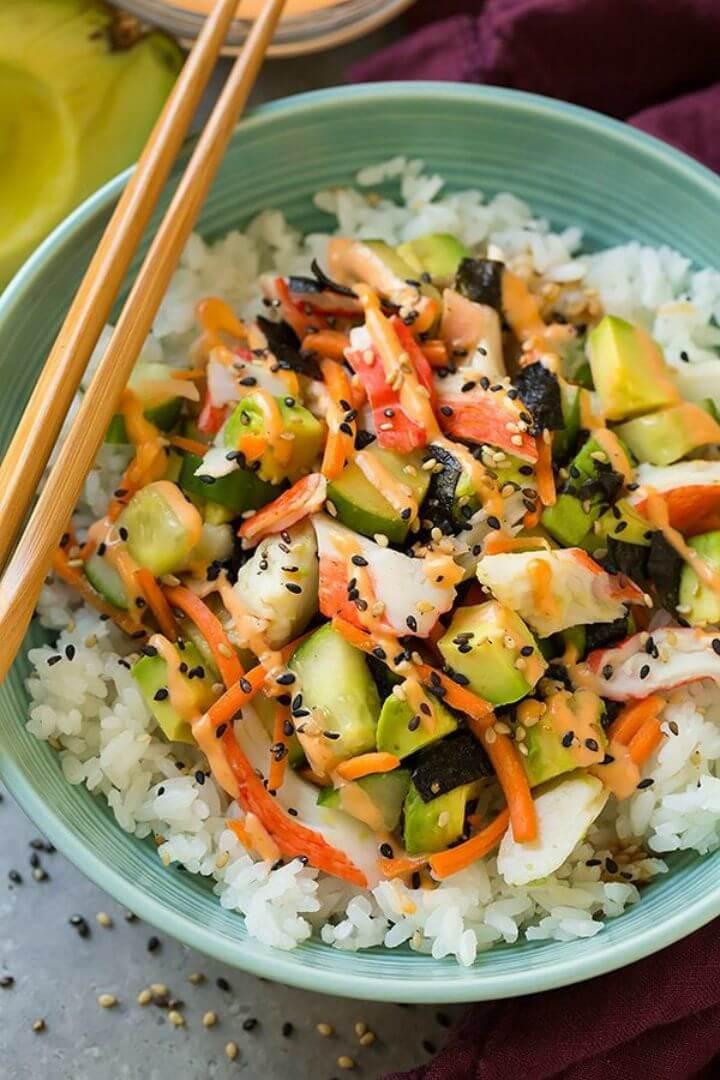 Easy To Make California Roll Sushi Bowls Recipe