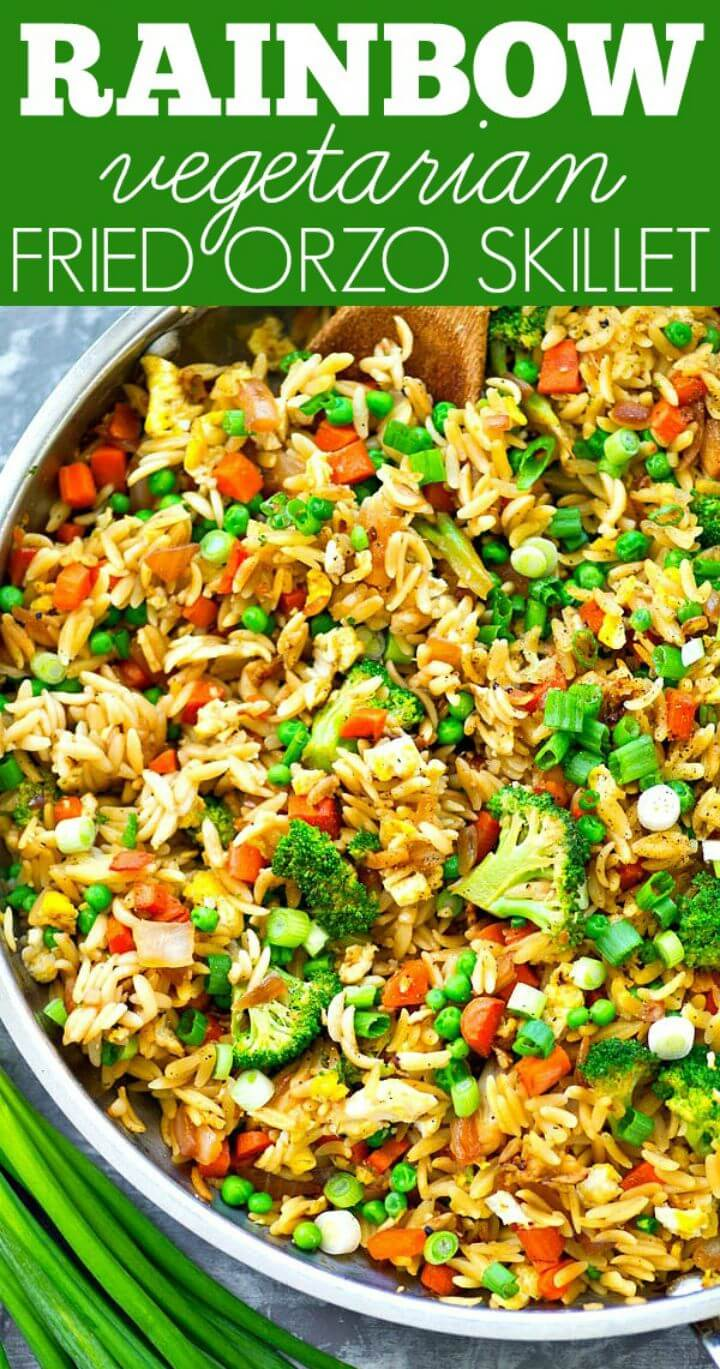 Rainbow Vegetarian Fried Orzo Skillet Recipe