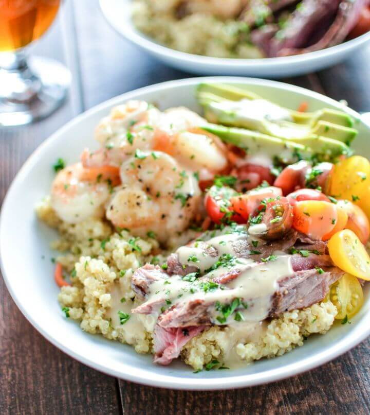Healthy Surf and Turf Quinoa Bowls