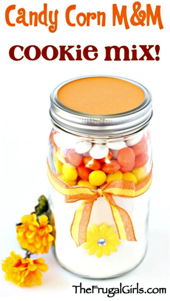 Adorable Candy Corn MM Cookie Mix in a Jar Recipe
