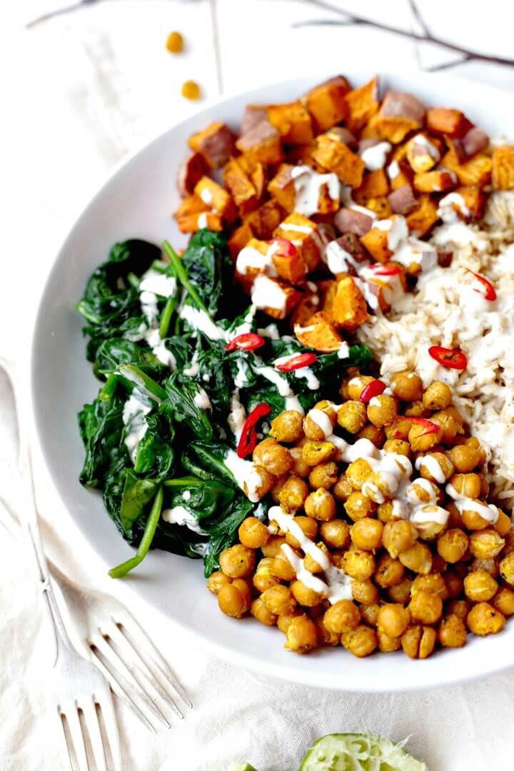 Chickpea, Spinach and Sweet Potato Brown Rice Bowl
