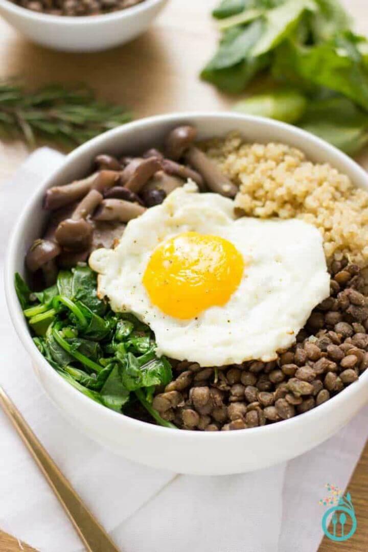Make Warm Lentil + Mushroom Quinoa Bowls