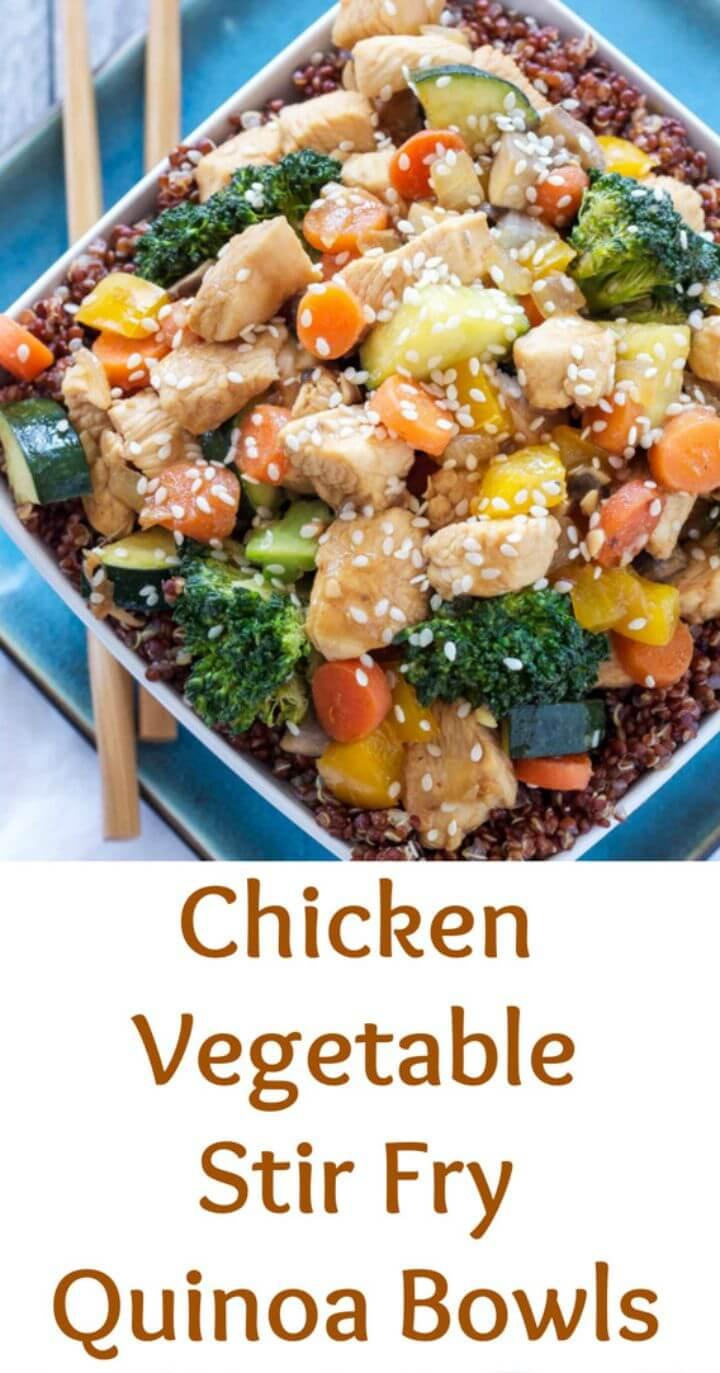 Prepare Chicken and Vegetable Stir Fry Quinoa Bowls