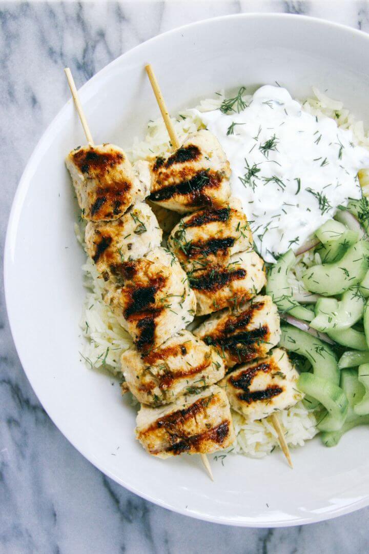 Prepare Grilled Chicken Kebab Bowls