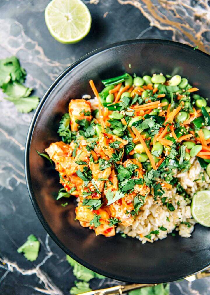 Spicy and Sweet Chili Salmon Rice Bowls Recipe