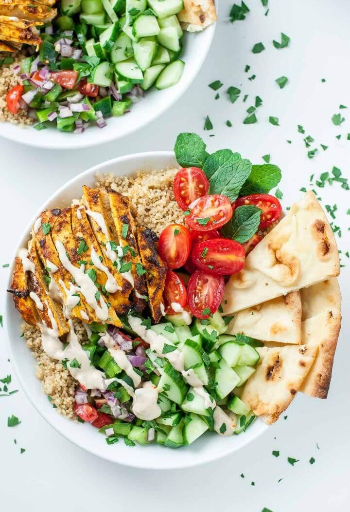 Super Easy Chicken Shawarma Quinoa Bowls Recipe